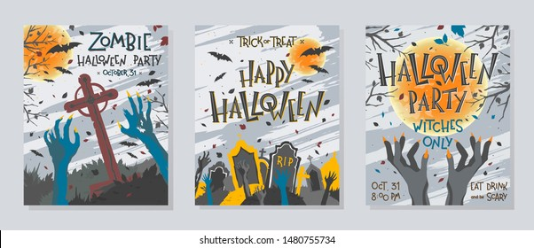 Set of Halloween posters with zombie or witch hands,graveyard,full moon,dead trees and bats.Halloween design perfect for prints,flyers,banners invitations,greetings.Vector Halloween illustration.