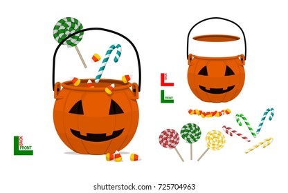 Set of Halloween pumpkin basket and candy on transparent background. Easy to create your composition by yourself