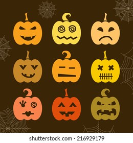 Set of Halloween pumpkin with different expressions. Halloween Vector.