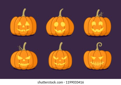 Set of Halloween pumpkin with happy and creepy face on dark background. Vector cartoon Illustration.