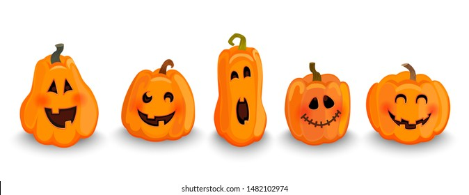 Set of halloween pumpkins characters, funny faces with smile. Symbol of happy holiday. Carving vegetable for decoration. Design for autumn october party. Vector illustration.