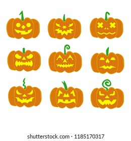 Set of Halloween pumpkins, funny faces. Autumn holidays. Vector illustration EPS10.