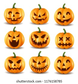 Set of halloween pumpkins, funny faces.vector illustration