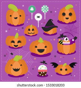 Set of halloween pumpkins, funny and scary faces. Vector illustration.