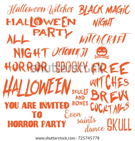 Set Halloween Quotes Posters About Halloween Stock Vector Royalty