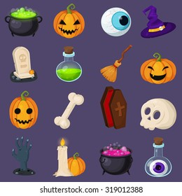 Set of Halloween related objects and creatures. Set of halloween icons for your design. Flat design. Halloween symbols.