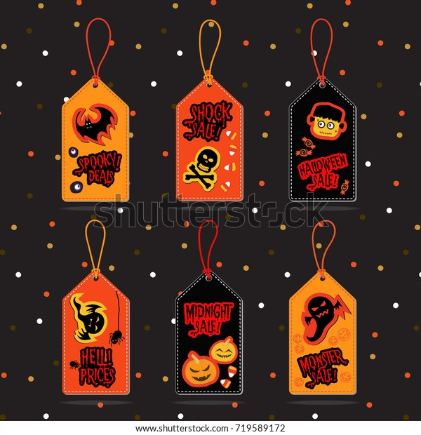 Set Halloween Sale Tags Vector Halloween Stock Vector Royalty Free 719589172