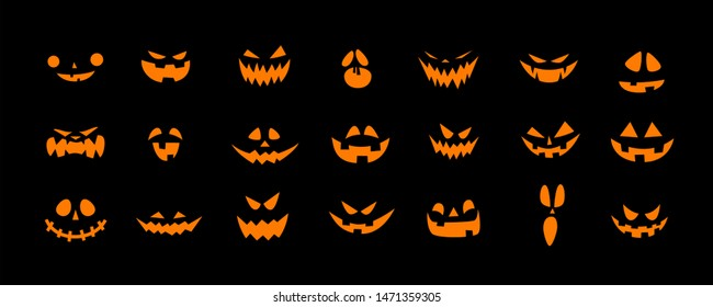 Set of Halloween scary pumpkins cut. Spooky creepy pumpkins cut - Vector
