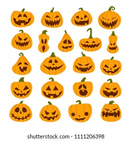 Set of Halloween scary pumpkins. Flat style vector spooky creepy pumpkins