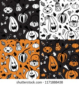 Set of halloween seamless patterns with different pumpkins. Vector seamless background. Endless texture can be used for wallpaper, surface textures, web page background.