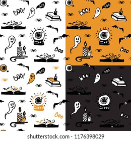 Set of halloween seamless patterns with ghosts, spiders, bats, magic books and candles. Good for packaging design, halloween packaging paper, thematical background.