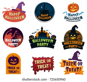Set of Halloween signs, badges and labels design. Happy Halloween decorative elements with traditional characters. Applicable for greeting cards, invitations, posters, party flyers. Vector eps 10.