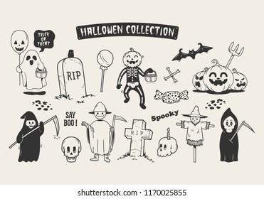 Set of halloween sketch doodle cartoon character.