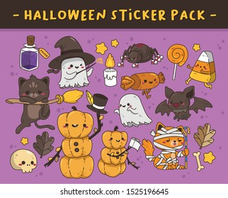 SET OF HALLOWEEN THEME PUMPKINS, CATS, BAT, CANDIES, GHOSTS CHARACTERS AND OTHER MISCELLANEOUS ISOLATED STICKER PACK IN PURPLE BACKGROUND