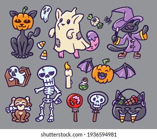 Set of Halloween themed illustrations. Perfect for decoration, greeting cards, events, flyers and posters.