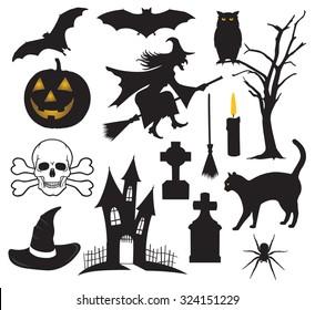 Set of Halloween things