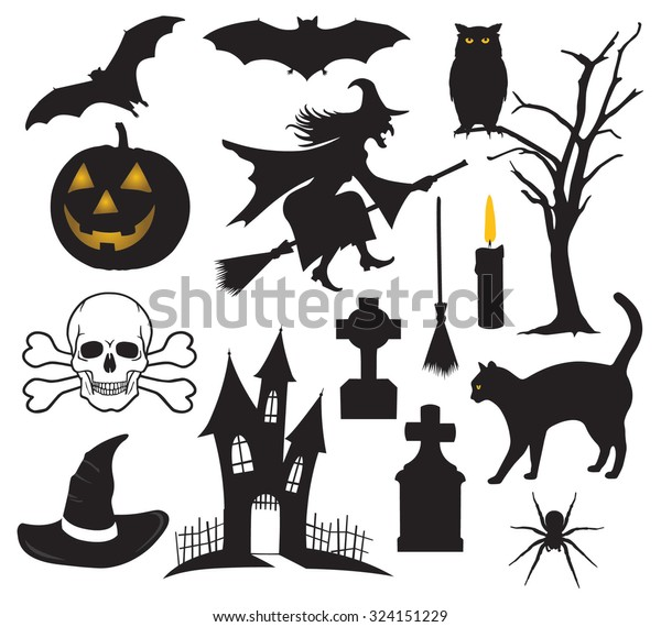 Set Halloween Things Stock Vector Royalty Free 324151229