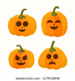 Set of halloween vector cartoon pumpkin with different faces on white background