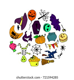 Set of Halloween vector illustration for a party in a modern style. Doodle. Design icon, print, logo, poster, symbol, decor, textile, paper