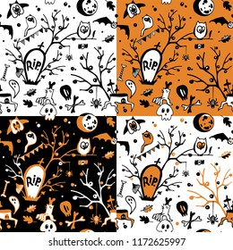 Set of halloween vector seamless patterns with owls, ghosts, bats, spiders, skulls and trees.