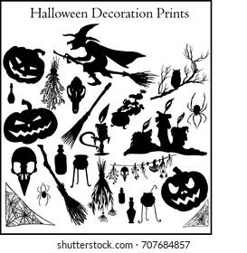 Set Halloweens Symbols Silhouettes Black White Stock Vector Royalty