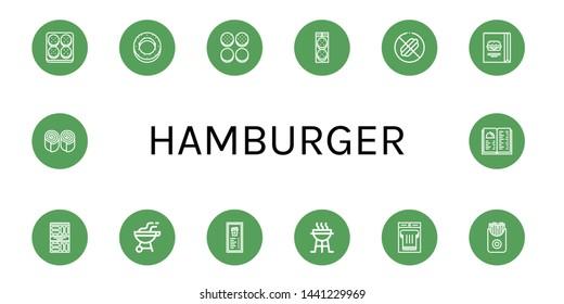 Set of hamburger icons such as Burger, Bagel, Burger bun, No food, Snack, Bbq, Menu, Charcoal grill, Sandwich, French fries, Bun , hamburger
