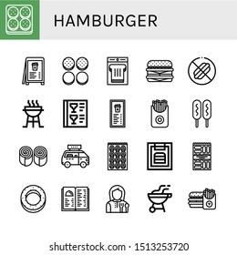 Set of hamburger icons such as Burger, Menu, Burger bun, Sandwich, Cheeseburger, No food, Charcoal grill, French fries, Corn dog, Bun, Fast food, Bagel, Snack, Lunchroom , hamburger
