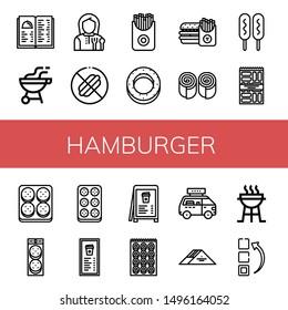 Set of hamburger icons such as Menu, Bbq, Lunchroom, No food, French fries, Bagel, Burger, Bun, Corn dog, Snack, Meatball, Fast food, Sandwich, Charcoal grill , hamburger