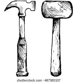 Set hammer. Vector illustration, doodle style