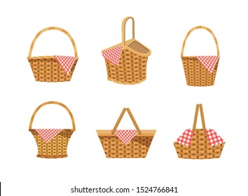 set of hamper with food and tablecloth decoration over white background vector illustration