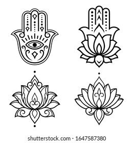 """Set of Hamsa hand drawn symbol with lotus flower. Decorative pattern in oriental style for interior decoration and henna drawings. The ancient sign of """"Hand of Fatima""""."""
