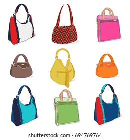 Set of Hand Bags for woman isolated on white. Fashion Bag Collection .