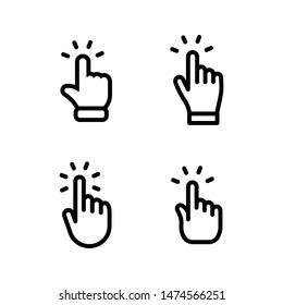 Set of hand clicking icons. Click finger pointer vector collection.