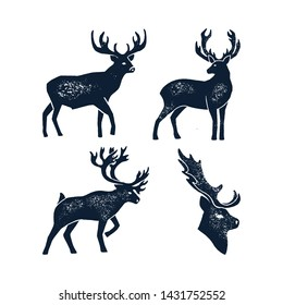 Set Hand draw Deer Silhouette Grunge. Vector illustration of a Wild Animal stag Isolated on a white background with a worn texture. Element for Logo, Emblem, Poster, Lettering, Pattern, Banner