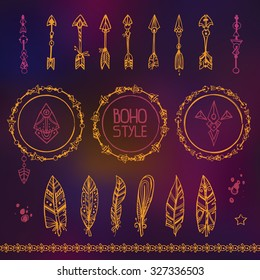 Set of hand draw design elements in a boho style. Vector illustration. Arrows, feathers, ornate borders. Goods for print design in a boho or hippie style.  Good for Tattoo.