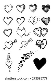 Set of hand draw hearts. Vector. White background.
