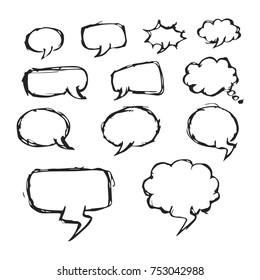 Set of Hand Drawing Bubble Speech