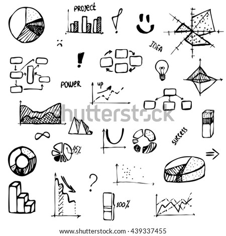 Set Hand Drawing Business Diagram Histogram Stock Vector Royalty