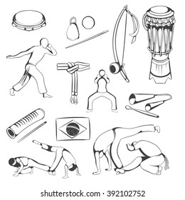 Set of hand drawing Capoeira elements. Vector.
