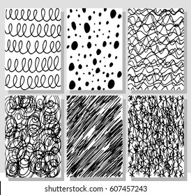 Set of hand drawing cards. Doodle pattern. Graphics. Abstract texture.  Isolated. Vector.