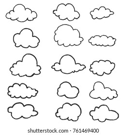 Set of Hand Drawing Clouds