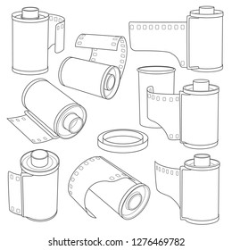 set of hand drawing the film in the cassette and 35mm film rolls vector