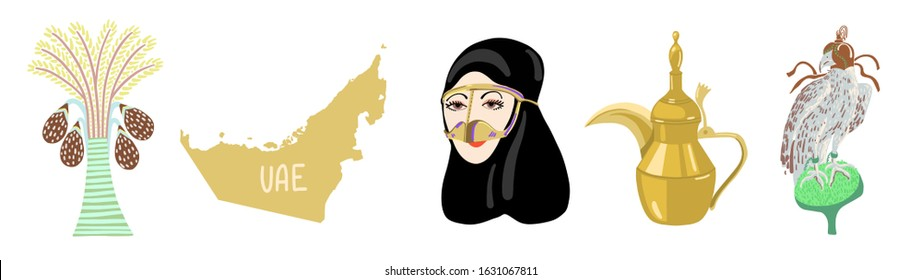 set of hand drawing icon symbol from Dubai, United Arab Emirates, Middle East, vector illustration collection