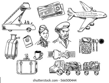 Set hand drawing icons. Tools and accessories for airplane travel. Vector illustration