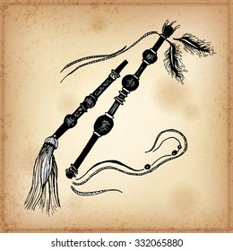 Set of hand drawing ink black and white  Indian Wand. Vector illustration. Set of doodle tribal  Indian ink Wand. Elements in native style for greeting card and postcard, henna and tattoo design.