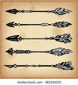 Set of hand drawing ink elements of arrows and arrows. Vector illustration.  Set of doodle tribal arrows. Elements in native style for greeting card and postcard, henna and tattoo design.