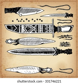 Set of hand drawing ink Native American knifes. Vector illustration.  Set of doodle tribal knifes. Elements in native style for greeting card and postcard, henna and tattoo design.