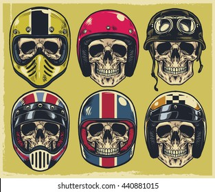 Set of hand drawing skulls wearing various of motorcycle helmet