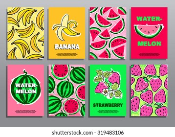 Set of hand drawing summer cards with fruits and berries. Organic food. Healthy lifestyle. Vector illustration.