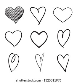 Set of hand drawn abstract hearts on isolated white background. Black and white illustration. Sketchy elements for design